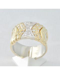 Brillantring 18K Gelbgold Weißgold