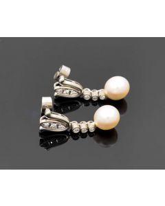 Ohrringe 14 kl.Diamanten / Perle 18 K Weißgold 6,1 g