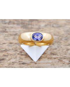 Tansanit Ring  18 k Gelbgold 12,3 g Größe 53