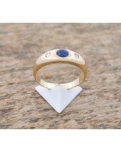 Saphir Ring  Brillanten 14K Gelbgold 5,4 g  Rg. 57