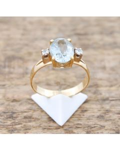 Aquamarin Ring  Brillanten 14 K Gelbglold 3,6 g Größe 56