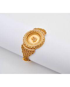 Armreif Allah 14K Gelbgold mit Zirkonia 23,2 g Ø 6,5 cm