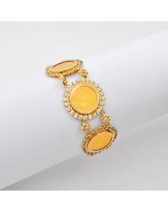 Armband mit 3 Münzen und Zirkonia 585/ 916 Gelbgold 14,6 g 20 cm
