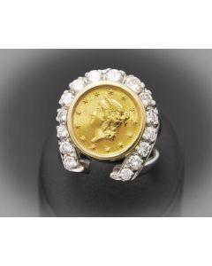 Ring  Brillanten Münze 14 K Weißsgold 11,5 g Rg 51,5