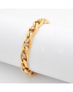 Brillanten Armband 18K Gelbgold mit 14 Brillanten 0,84 ct 58,2 g 19,5 cm