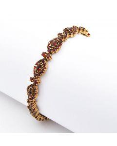 Granat Armband 8K Gelbgold 13,5 g 19 cm