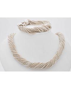 Set Halskette Collier und Armband 925 Sterlingsilber 190 g