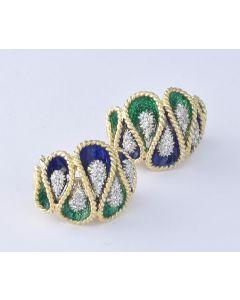 Diamant Ohrringe 18K Gelb/Weißgold 50 Diamanten bicolor