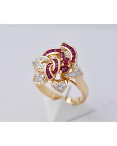Rubinring 18K Gelbgold Diamanten
