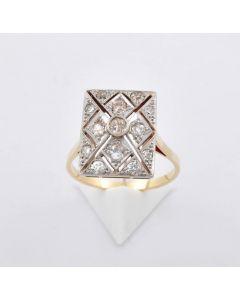 Brillant Ring Art deco 18K Gold 13 Brillanten AS ca. 0,80 ct.