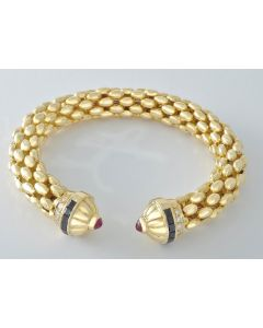 Armreifen 750 Gold Brillanten Saphire Rubine