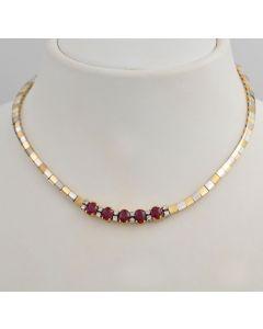 Collier bicolor 18K Gold 5 Rubinen 12 Brillanten