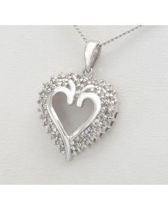Diamant Anhänger Herz 14K Weißgold  50 Diamanten