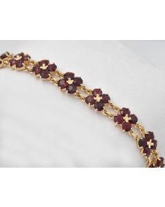 Granat Armband 14K Gelbgold 20,5cm