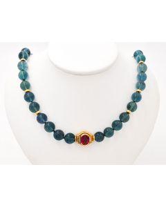 Grüne Turmarin Halskette Collier 18K Gelbgold 46cm 70,7 g