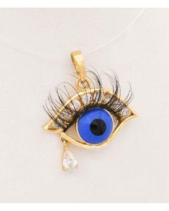 Anhänger  Auge mit Wimpern Zirconia 14 K Gelbgold 2,0 g