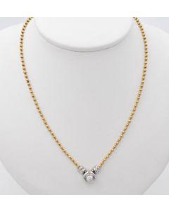 Halskette Kugel Kette Collier Bicolor 14 K Gelbgold Weißgold mit Zirkonia Anhänger