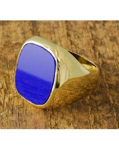 Lapis Ring 585 Gold Herrenring Größe 62 TOP