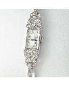 Cyma Art Déco Armbanduhr 950 Platin Handaufzug