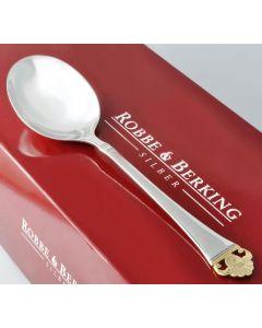 Robbe & Berking Sahne-Tassenlöffeel 925 Silber Rosenmuster Golddekor