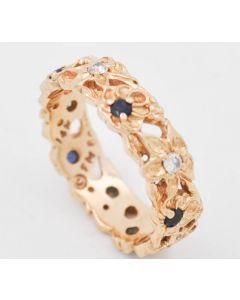 Ring 14 K Gelbgold mit Brillanten und Saphiren 5 g RG. 57