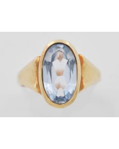Ring Bicolor 14 K Gelb, - Rosegold mit synth. Spinell 4,3 g RG. 52