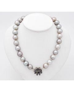 Tahiti Perlen Halskette Kette Collier 14K Weißgold mit Saphiren 85 g 47 cm