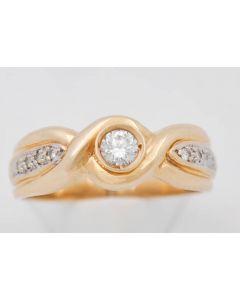 Brillant Ring  zus. ca. 0,20 ct HSh,h 14 k Gelbgold 4,4 g Größe 58