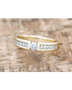 Brillant Ring zus. 0, 15 ct 375 Gelbgold 2,7 g Größe 51