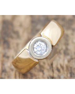 Brillant Ring 0,22ct VS2,F 14 K Gelbgold 4,3 g Größe 53