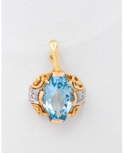 Anhänger 14 K Gelbgold  mit Aquamarin kl. Diamanten 5,5 Gramm